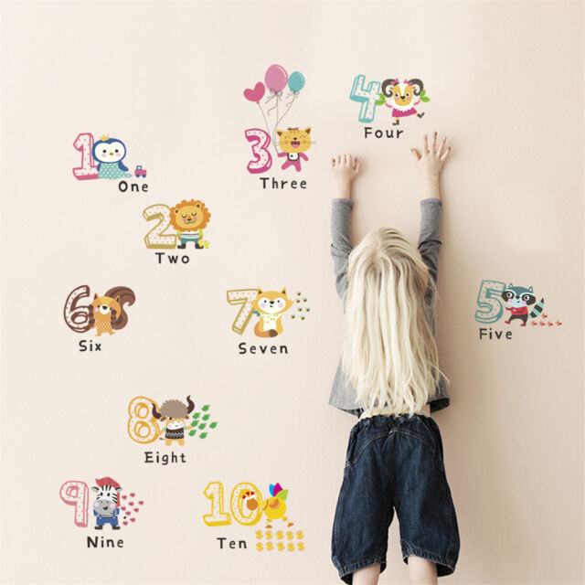 Funny Animal Number Alphabet Wall Sticker Kids Room Home Decor Wall Decals Bs