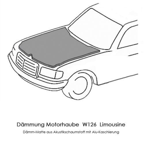 Mercedes Benz W126 S SE SEL SD SDL Limousine Dämmmatte Motorhauben-Dämmung Neu