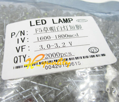 500PCS F5 5mm WHITE Straw Hat Superbright LED Light LED Lamp
