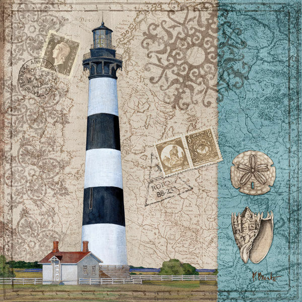 Paul Brent: Harbor Point IV Châssis-Image Toile Toile Toile Phare maritime coquillages f264d1