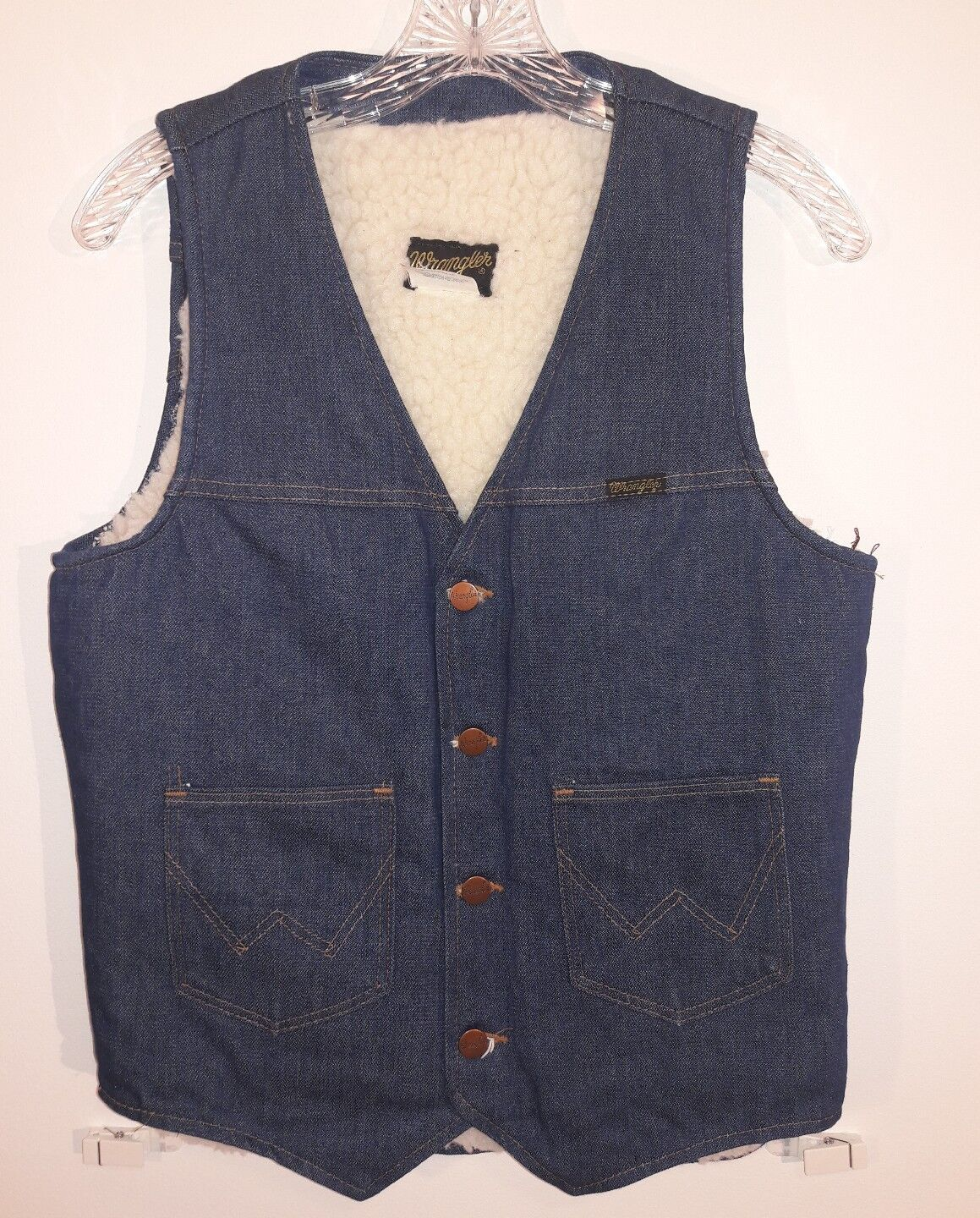 Vintage Wrangler NO FAULT DENIM Sherpa Denim Jean Vest Mens Small EUC