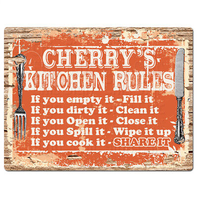 PPKR0922 CHERRY/'S KITCHEN RULES Chic Sign Funny Kitchen Decor Birthday Gift