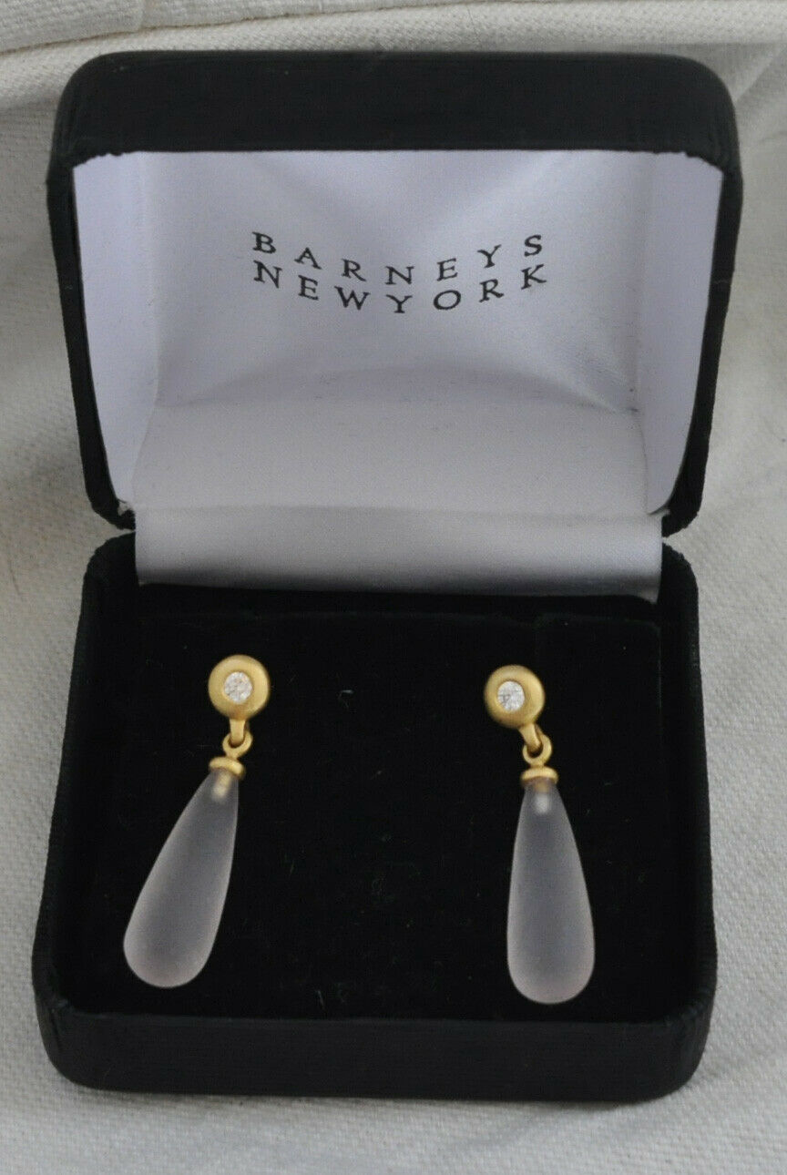 Linda Lee Johnson brushed gold and diamond earrings