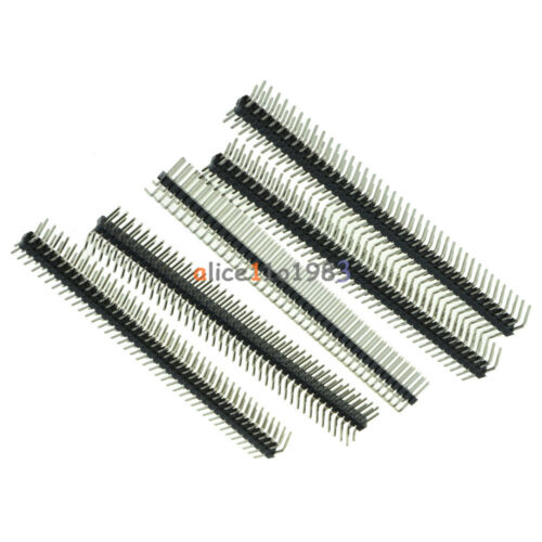 20PCS 2.54mm 2 x 40 Pin Male Double Row Right Angle Pin Header Strip