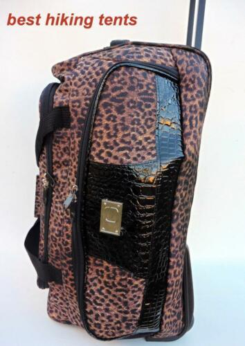 New Leopard Wheeled Duffle Bag Weekend Luggage Overnight Tote Travel Trolley 2SZ