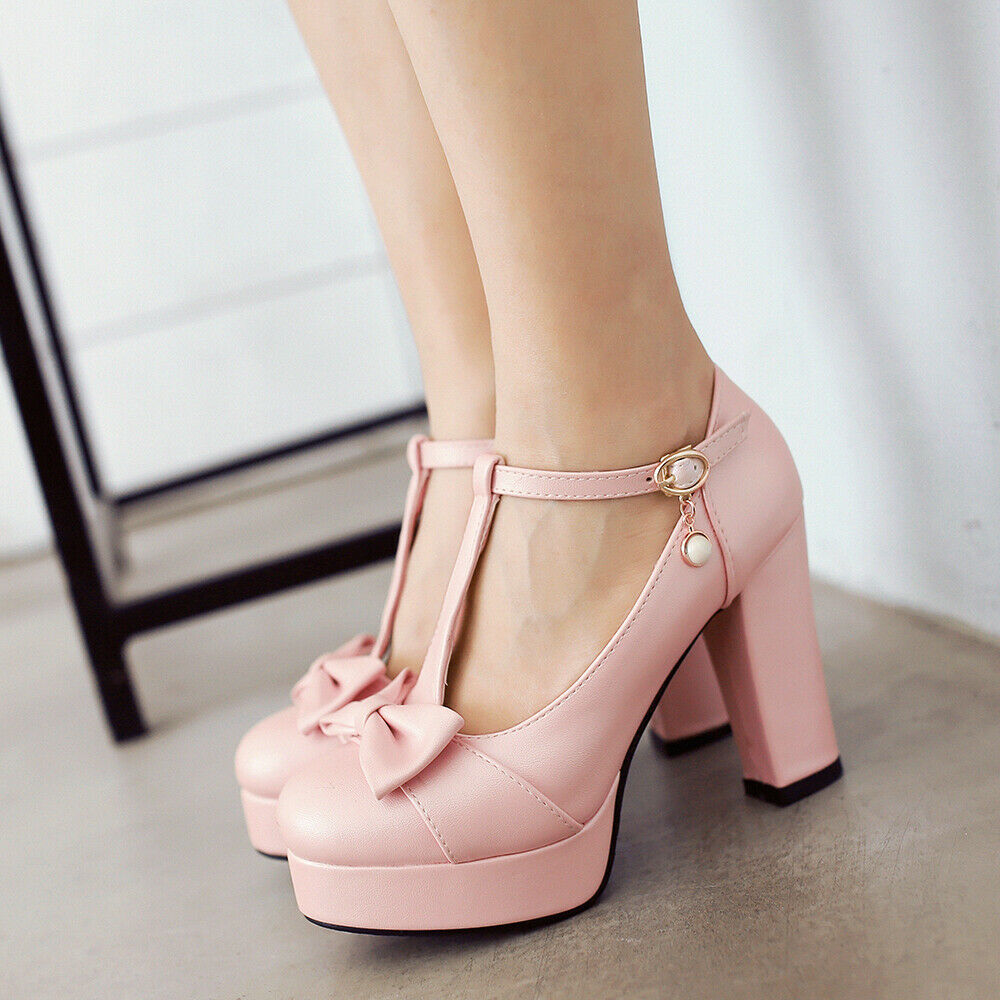 Women Pumps Mary Jane Round Toe Block Heels Platform Ankle Strap Bowknot shoes