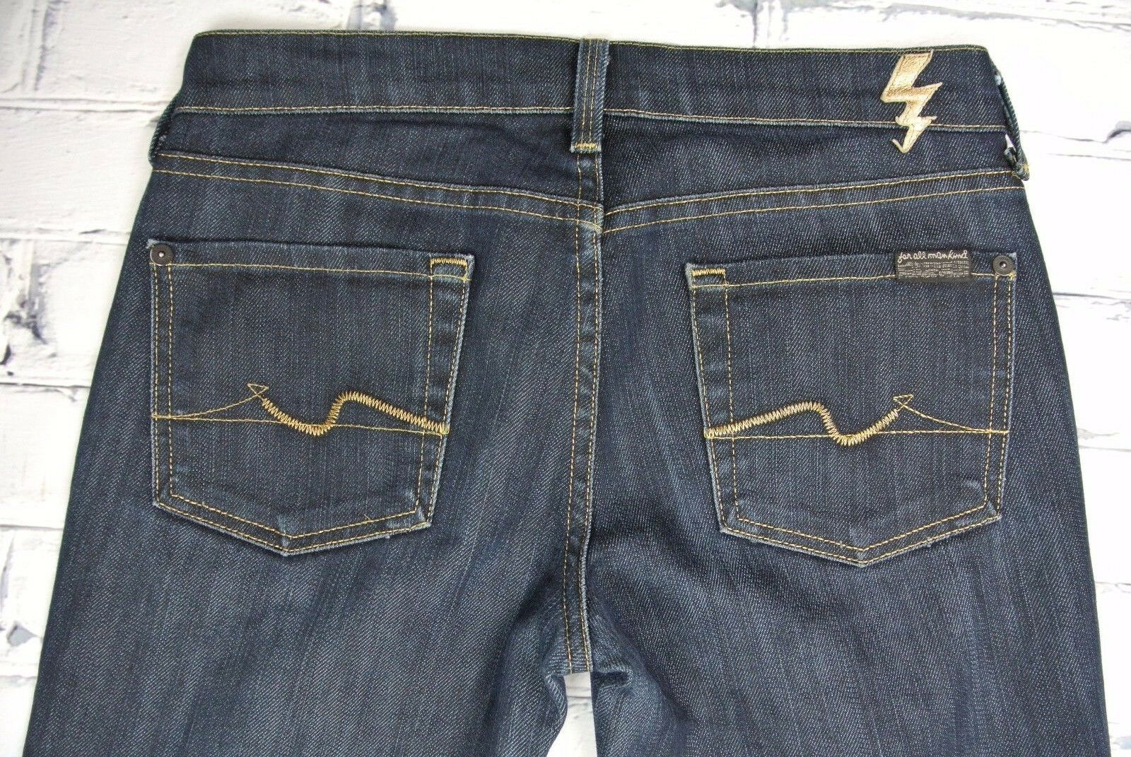 7 for All Mankind Womens Lowrise Straight Leg'gold Digger' Jeans Tag Sz 26    c4
