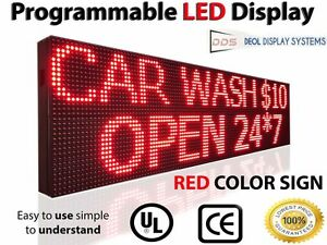 red color outdoor programmable 15 x 38 scrolling led sign open