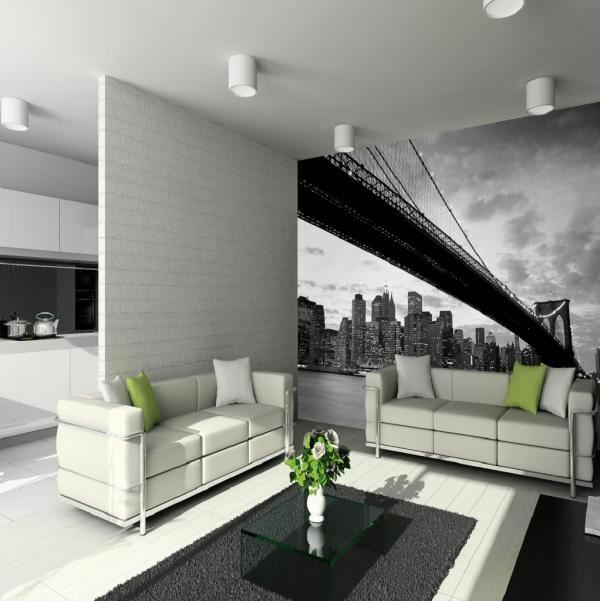 1 WALL GIANT EASY-HANG WALLPAPER MURAL NEW YORK BRIDGE SKYSCRAPER 3.15m x 2.32m