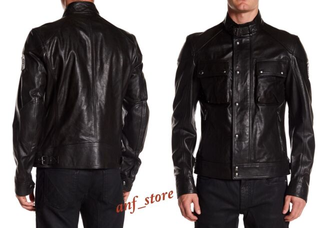 13649b54e NWT Belstaff RACEMASTER Blouson Black Mens LEATHER Jacket 40/50 $1995 LARGE  IT