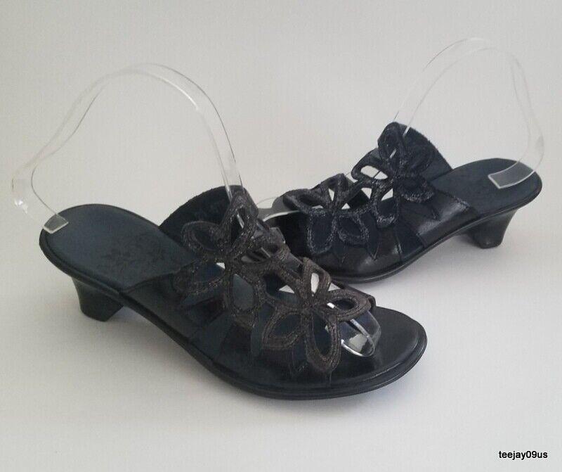 Comme neuf Cond   femme Think  en cuir noir Floral Sandales Taille 35