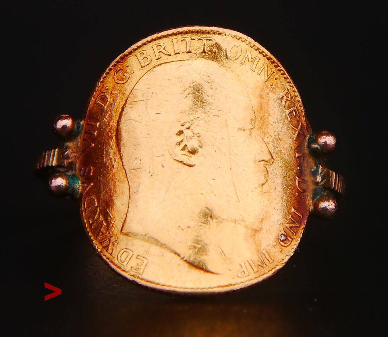 1903 Unisex British 22K gold London Half Sovereign Coin Ring Size 9.25US  4.8g