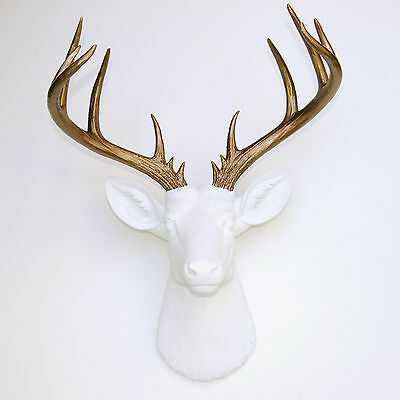 NEW - Large Deer Head White - Bronze -Antlers Faux Taxidermy Wall Mount D0109
