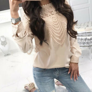 Womens-Sexy-Lace-Hollow-Out-Short-Sleeves-T-Shirt-Tee-Tops-Long-Sleeve-Blouse
