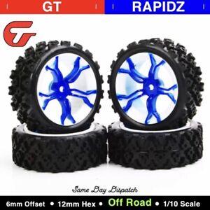 Details about 110 RC Rally Racing Off Road Car Rubber Block Tyre Blue Spoke Wheel 4PCS MPNWB