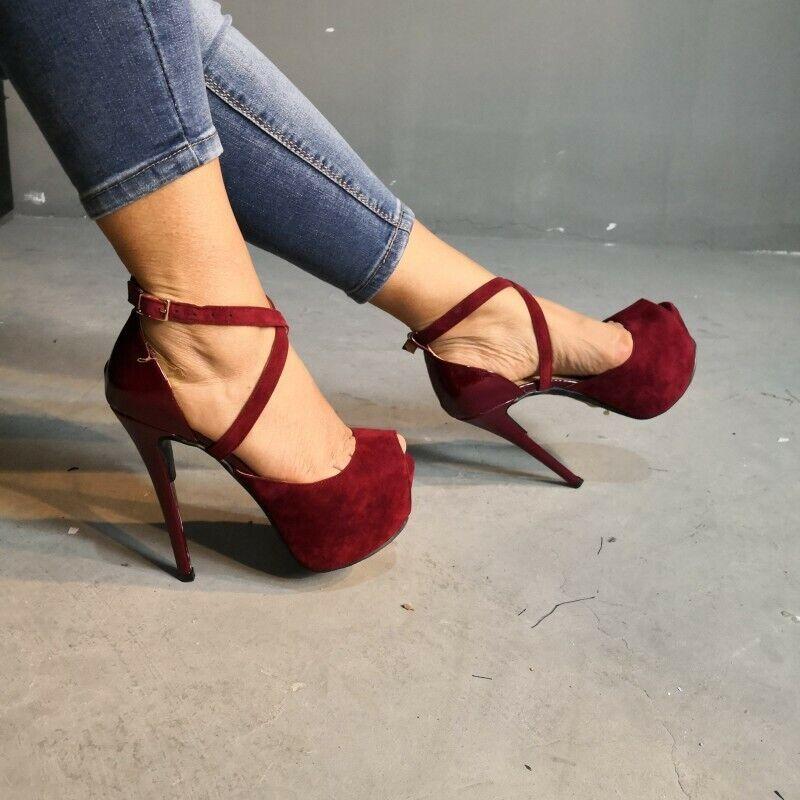 Super High Heel Damenschuhe Peeptoe Stiletto Pumps Platform Kreuzriemen Fashion