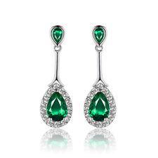 Placcato in oro bianco & verde smeraldo Cubic Zircon Stud Goccia Dangle Earrings e997