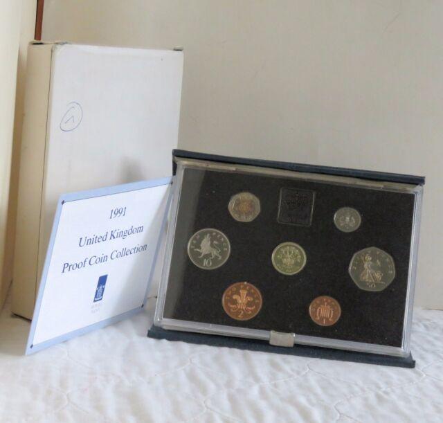 1991 UNITED KINGDOM ROYAL MINT 7 COIN PROOF SET  - sealed/coa/outer