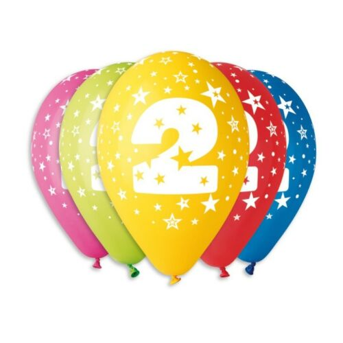 Assorted colours PREMIUM QUALITY Pack of 10 Balloons with 2nd Birthday print