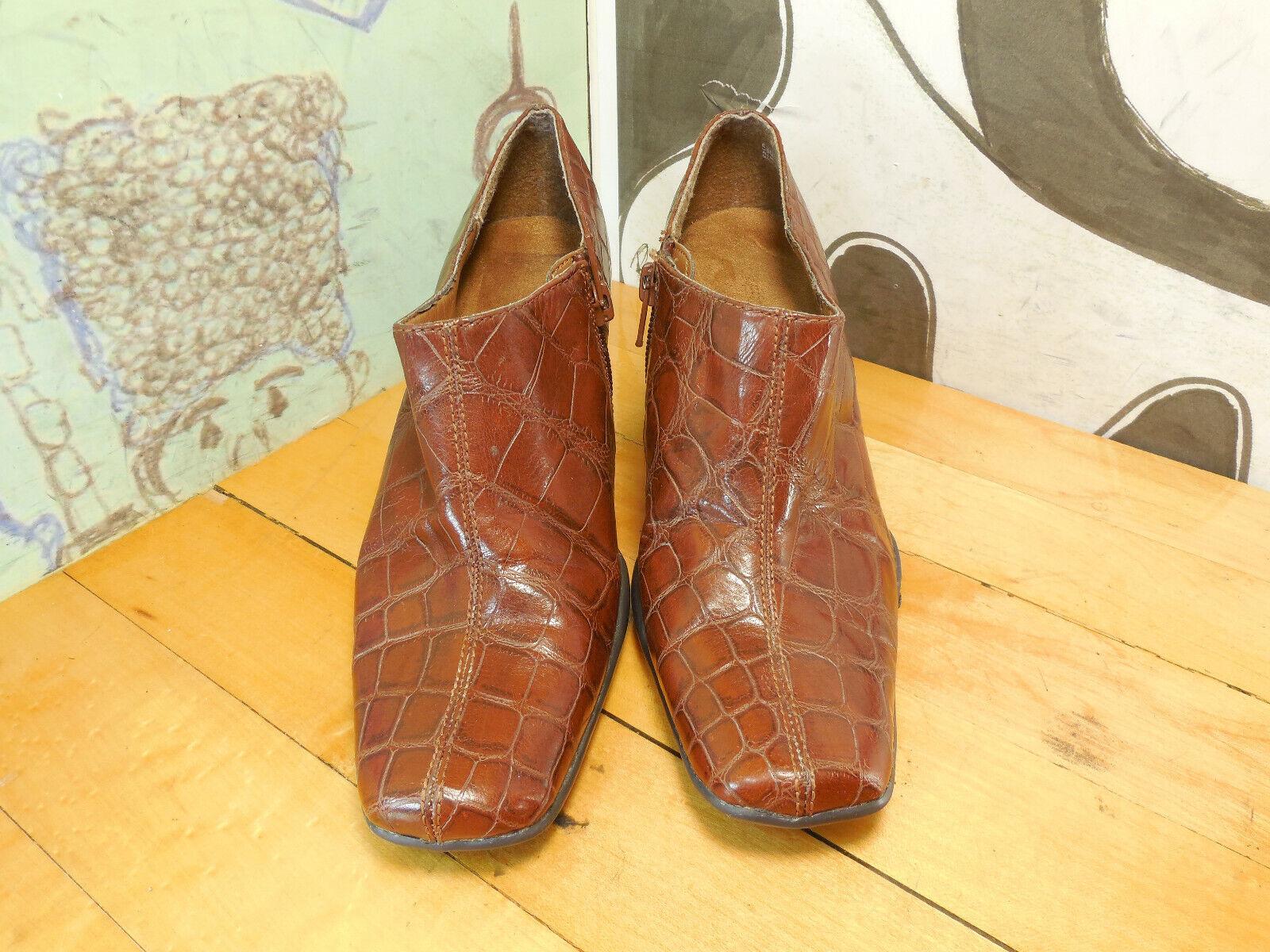 Aerosoles Brown Leather Booties Heels Womenh's 5.5B