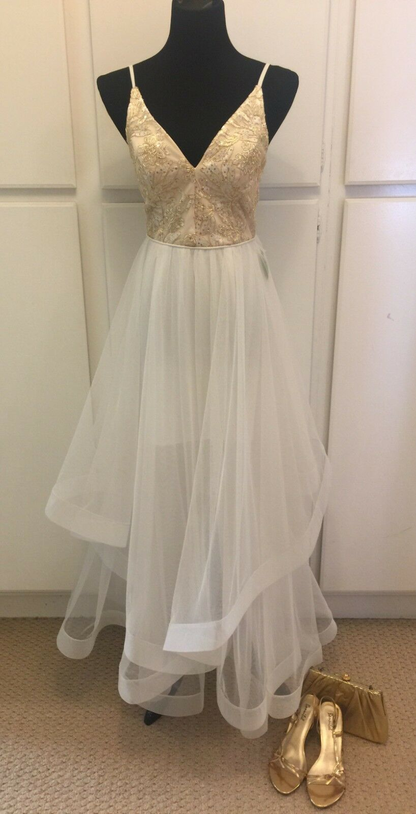 damen WINDSOR Homecoming Prom Formal Weiß & Gold Tulle Gown Größe 7