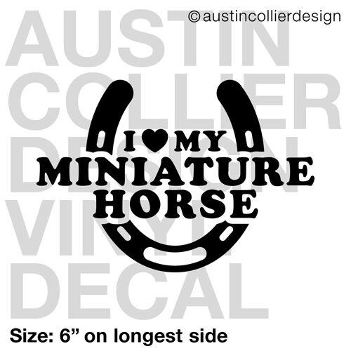 "6/"" MINIATURE HORSE vinyl decal car truck window laptop sticker black horse shoe"