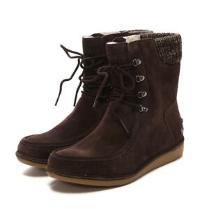 60ee856e1b591 Image is loading Womens-Boots-Lacoste-Alyson-SRW-DARK-Brown-Suede-