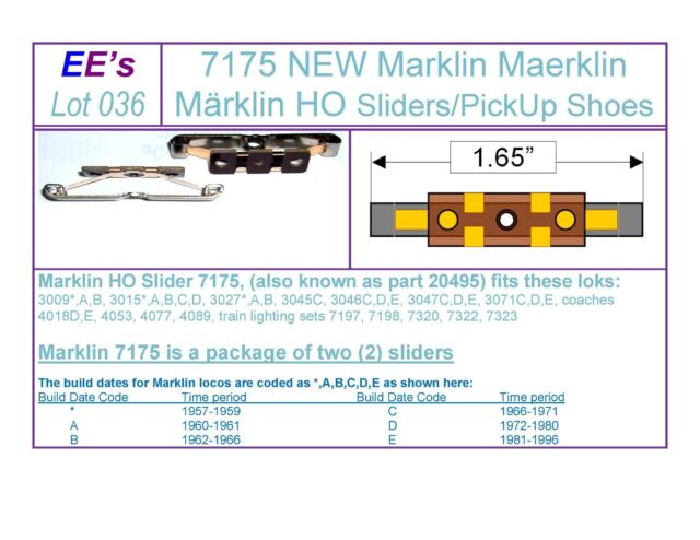 EE 7175 Pair Marklin HO Sliders Pick up Shoes 3rd Rail Power Contact (036)