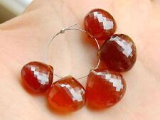 AAA Hessonite Garnet Faceted Heart Briolette Gemstone Beads 12-15mm.