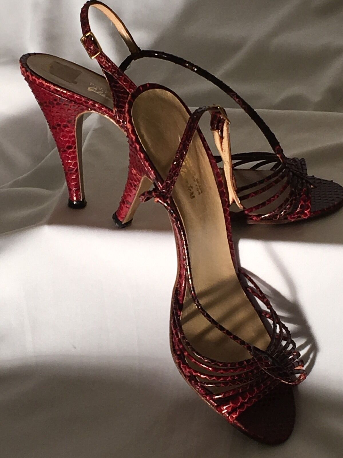 1980's Vintage SNAKESKIN RED STRAPPY SPAIN GOLDWATERS HEELS Sling Back Shoes 7.5