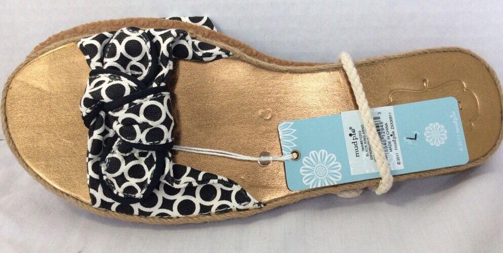 Mud Pie Women's Large Black Ring Espadrilles Size Large Women's Slip Ons Sandals  NWT 86f9f0
