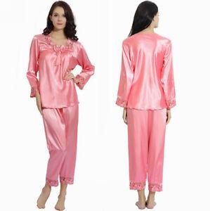 Women Silk Satin Pajamas Pyjamas Set Sleepwear  Loungewear S,M,L,XL,2XL,3XL Plus