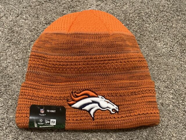 promo code 3196e 66d8f Denver Broncos Stocking Cap on Field TD Knit Hat 2017 NFL Beanie Era Orange