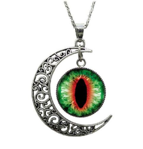 Women/'s Girls Turkish Evil Eye Half Moon Pendant Long Chain Necklace Jewelry