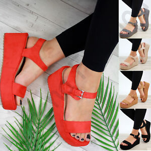 New-Womens-Platform-Sandals-High-Wedge-Heel-Ankle-Strap-Peep-Toe-Comfy-Shoes