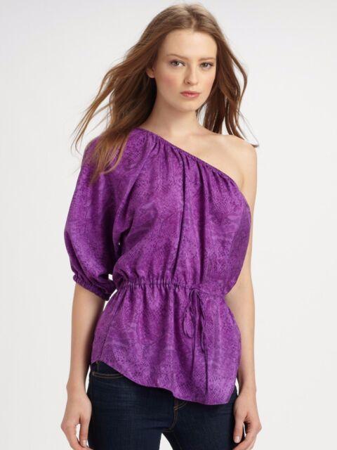 df67ebe82dfbd NWT Rebecca Taylor Women s Python One Shoulder Top Blouse Purple Silk Sz 6   245