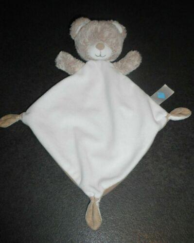 Doudou Ours Plat Losange Blanc Chiné Gris Beige Tex Baby Carrefour Com Neuf 2 Di