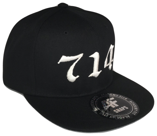 714 Orange County Ca La Area Code Snapback Snap Black Baseball Cap Caps Hat Hats