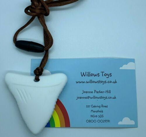 Silicona diente de tiburón masticar Collar Colgante Autismo ADHD sensorial BPAfree vendedor del Reino Unido