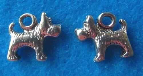 Pendant Cute Dog Charm Dog Rescue Charm Scottie Dog Charm Antique Silver