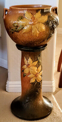 Roseville Pottery Vase #667-5 1960/'s USA Hand Painted Green and Pink Clematis Collectable