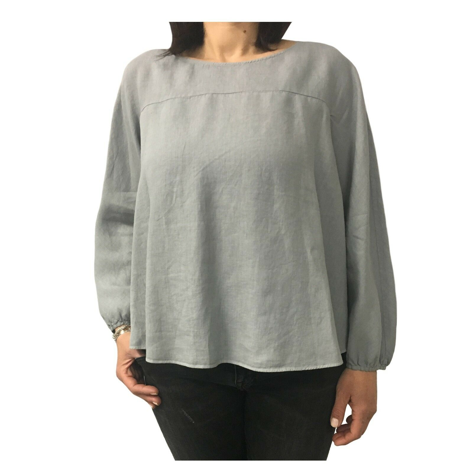 ASPESI Damenhemd grau mod H718 C195 100% Leinen