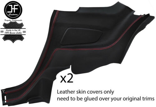 RED STITCH 2X REAR SIDE QUARTER PANEL LEATHER COVERS FITS FORD MUSTANG 15-18
