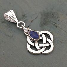 Silver Lapis lazuli charm, Celtic 4 Elements Knot Pendant Wicca Pagan chakra