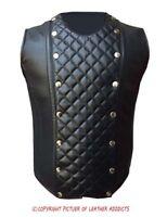 Mens Real Sheep Black Leather Steel Boned Victorian Corset Larp Steampunk Goth-3