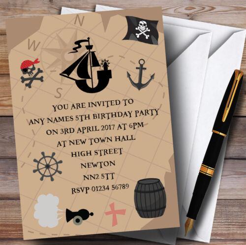 Pirate de carte de Trésor Childrens Birthday Party Invitations