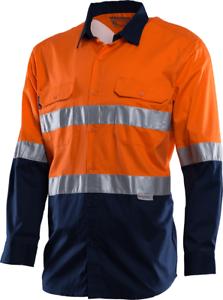 Workhorse HI-VIS TWO TONE VENTED SHIRT MSH001 orange Navy- Size S, M, L Or XL
