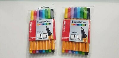 Assorted wallet of 8 Stabilo Point 88 Mini 0.4 Fineliner Pens
