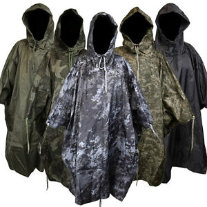 Waterproof-US-Army-Hooded-Ripstop-Festival-Rain-Poncho-Military-Camping-Hiking