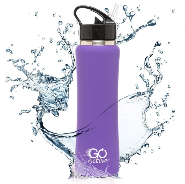 NEW Durable Insulated Water Bottle Purple 24oz With Flip Straw By GO Bottles